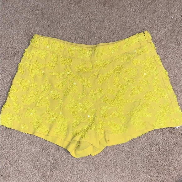French Connection Pants - French Connection Beaded Yellow Shorts